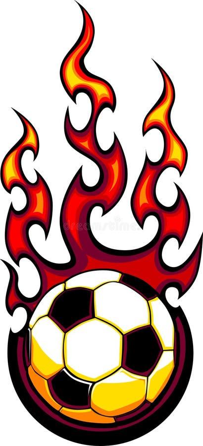 Logotipo flamejante da esfera de futebol