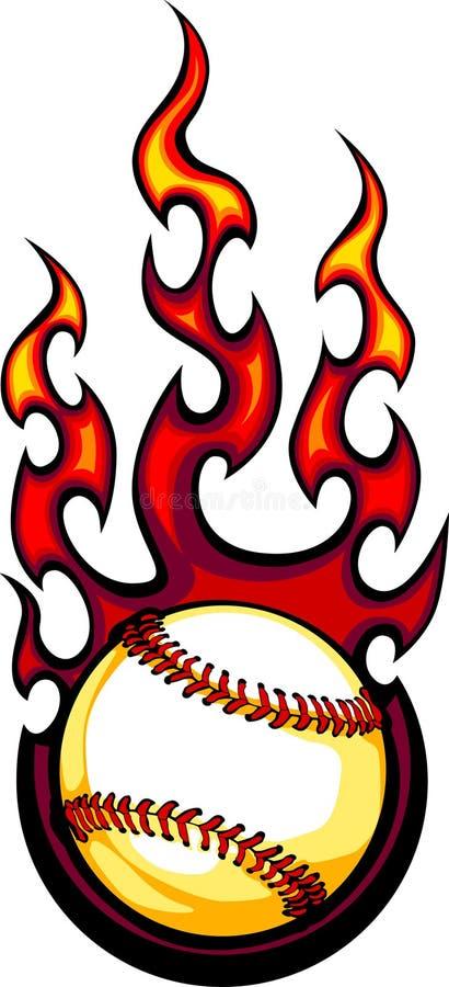 Logotipo flamejante da esfera do basebol ou do softball ilustração stock