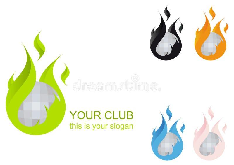 Logotipo flamejante do clube de esfera do disco ilustração do vetor