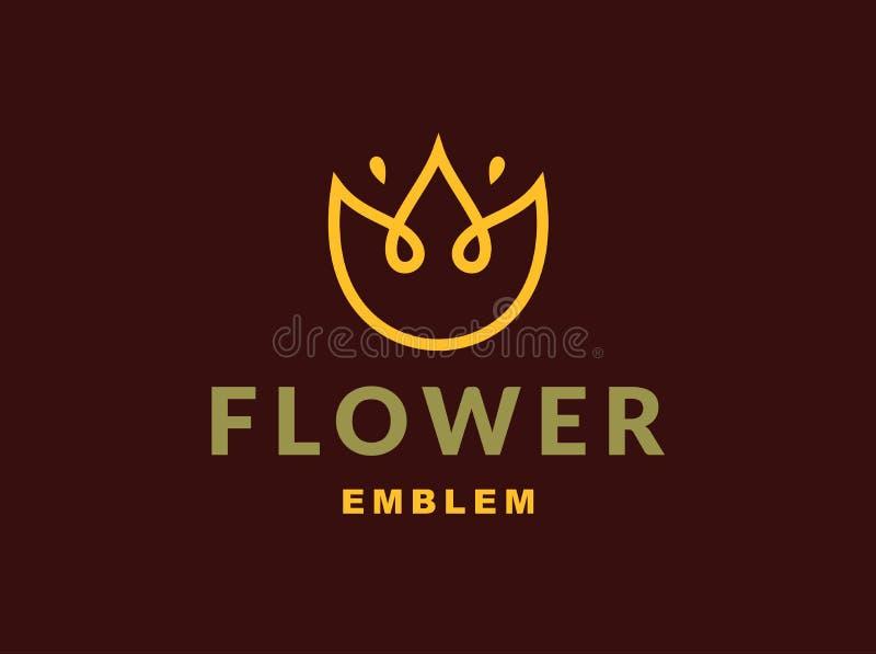 Logotipo floral con tres hojas - vector el ejemplo, emblema en fondo oscuro libre illustration