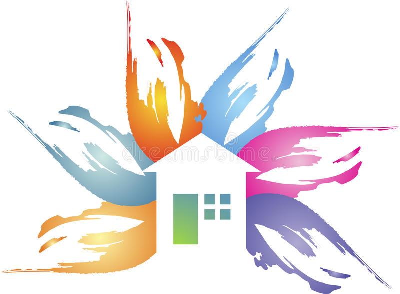 Logotipo floral da casa ilustração do vetor