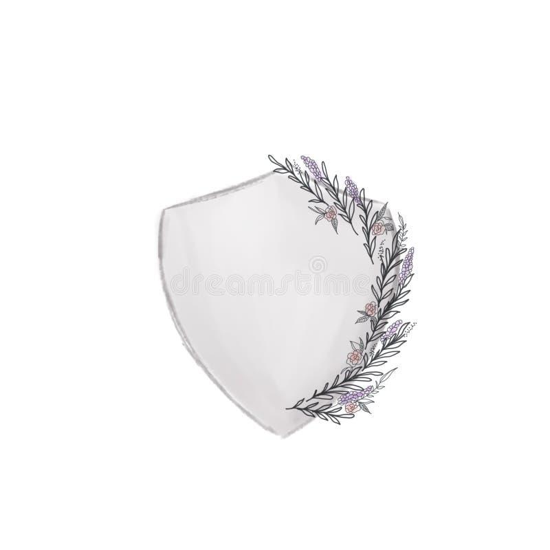 Logotipo floral do casamento da crista do casamento do protetor ilustração royalty free