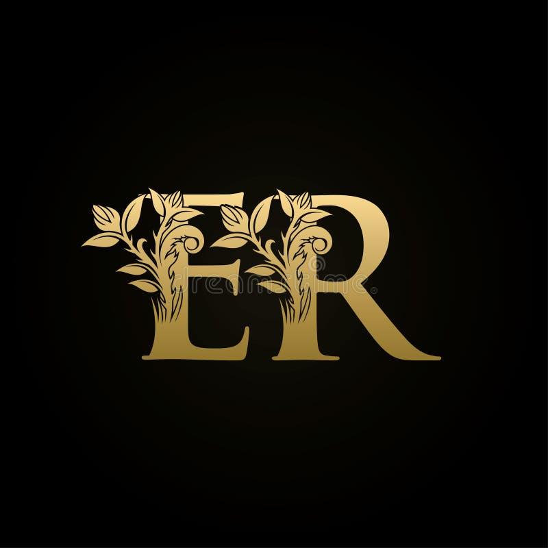 Logotipo floral luxuoso da letra do ER das cristas do ouro ilustração royalty free