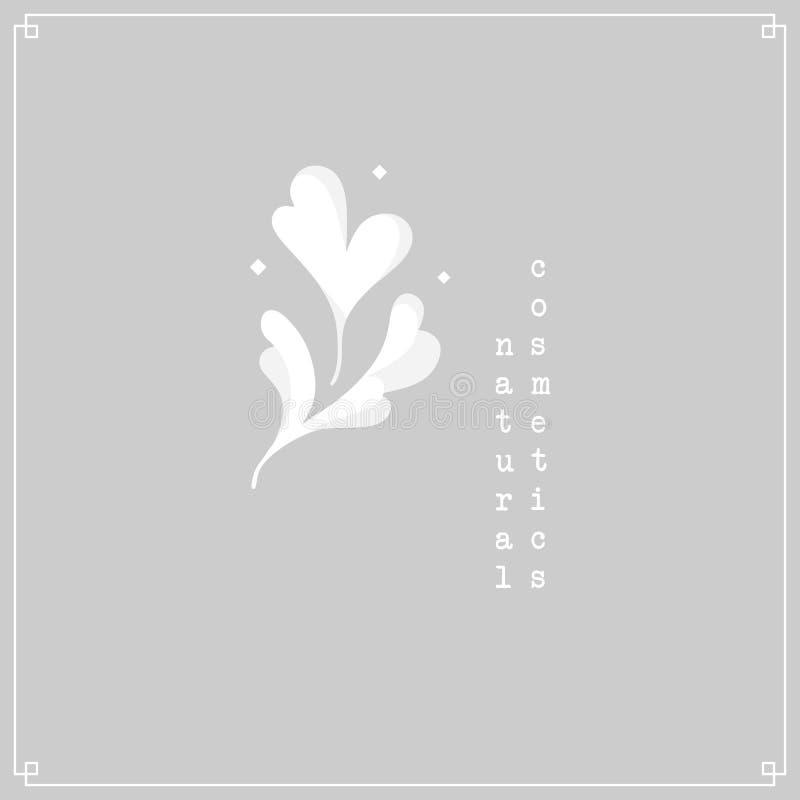 Logotipo floral Motivo da flor branca na luz - fundo cinzento com quadro minimalistic ilustração do vetor
