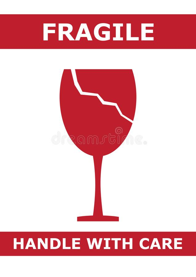 Logotipo frágil com ilustração de vidro quebrada imagem de stock