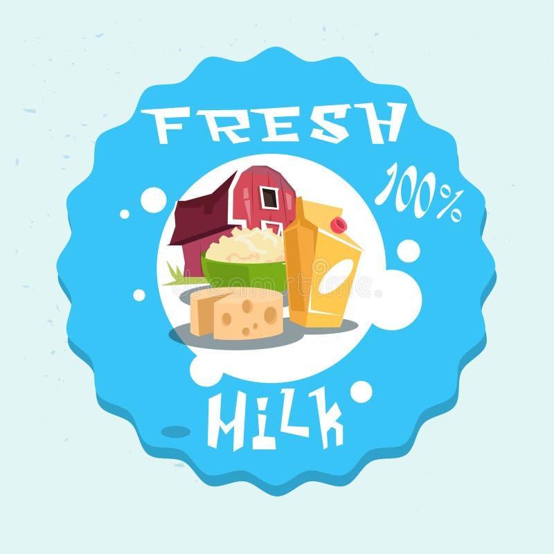 Logotipo fresco de la granja de Eco de los productos lácteos de la leche stock de ilustración