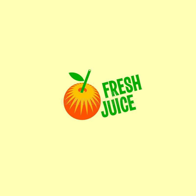 Logotipo fresco do suco Laranja estilizado com palha plástica e letras verdes ilustração stock