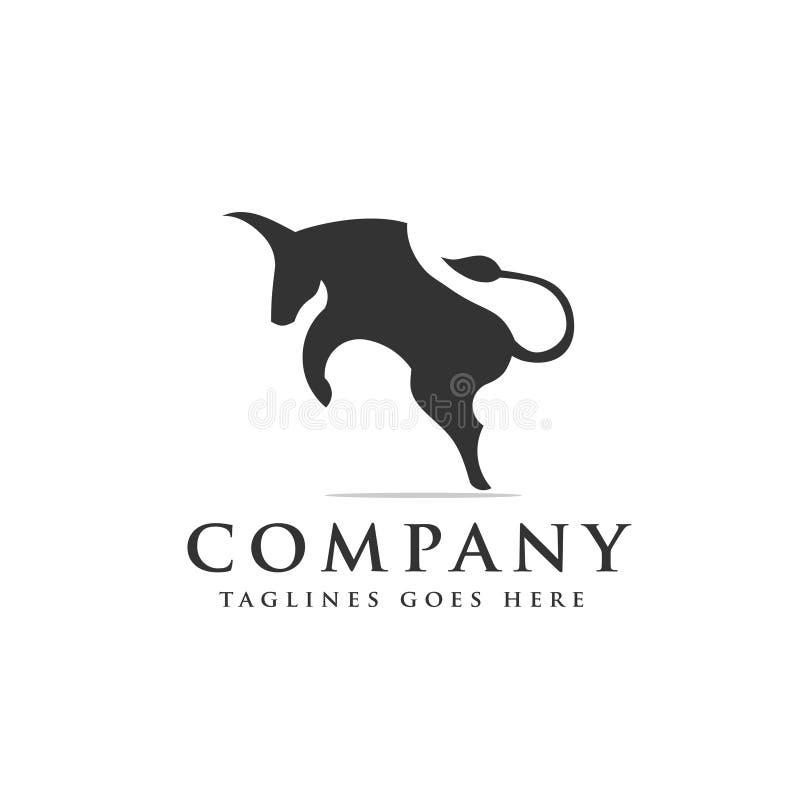 Logotipo fuerte y simple del toro enojado ilustración del vector