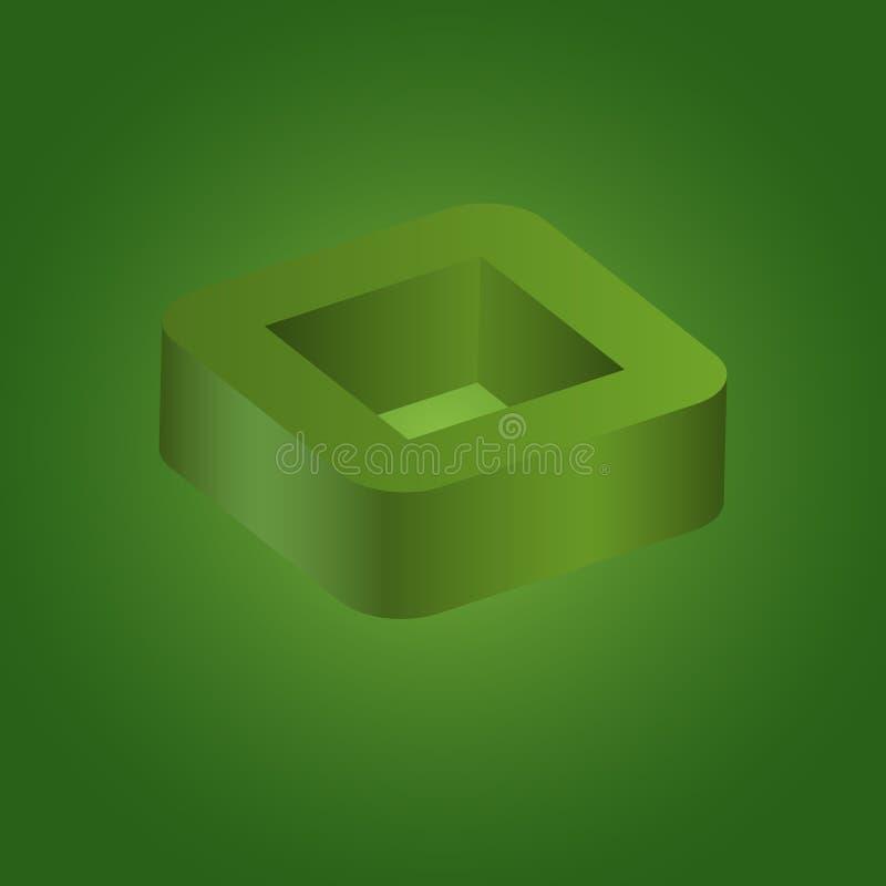 Logotipo geométrico abstrato do quadrado 3d ilustração do vetor