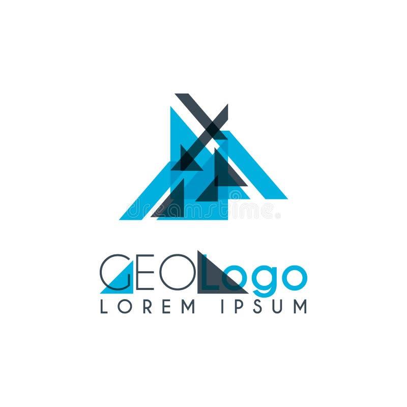 logotipo geométrico com luz - azul e cinza empilhados para o projeto 0 8 ilustração royalty free