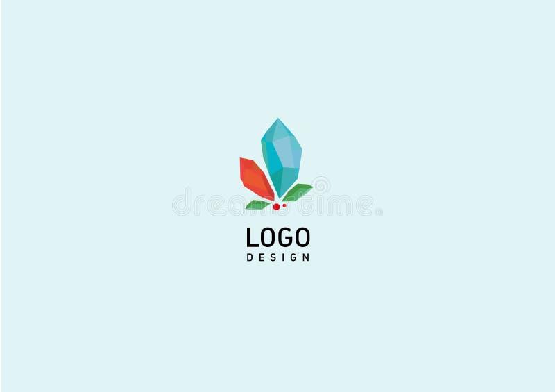 Logotipo geométrico criativo cristais coloridos ilustração do vetor