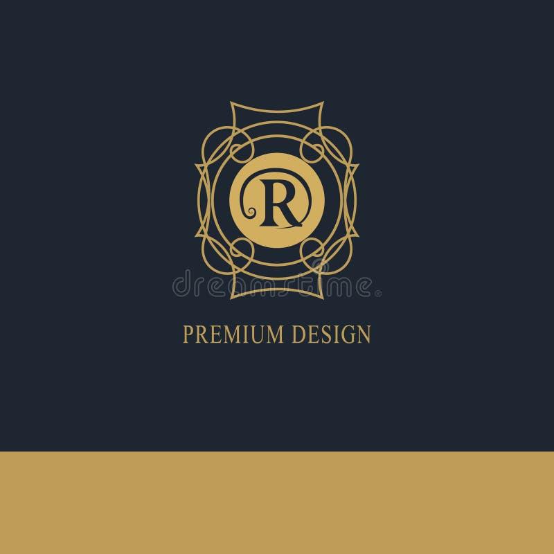 Logotipo geométrico del monograma Plantilla abstracta del vector en la mono línea estilo de moda Emblema R de la letra Inconformi stock de ilustración
