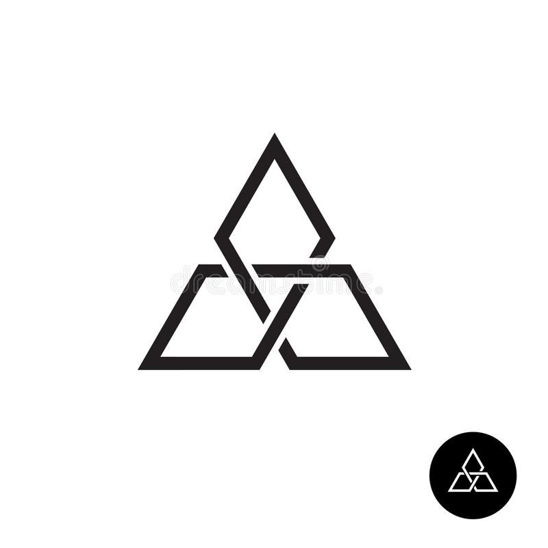 Logotipo geométrico do esboço do nó do triângulo ilustração stock