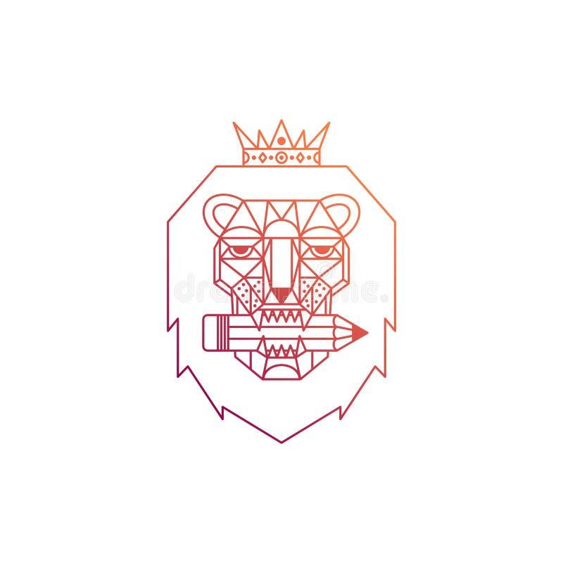 Logotipo geométrico do leão ilustração royalty free