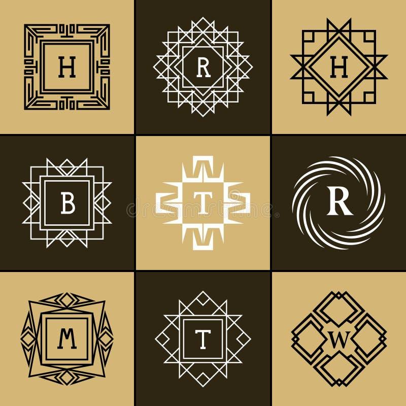 Logotipo geométrico do monograma Molde abstrato do vetor na mono linha estilo na moda ilustração do vetor
