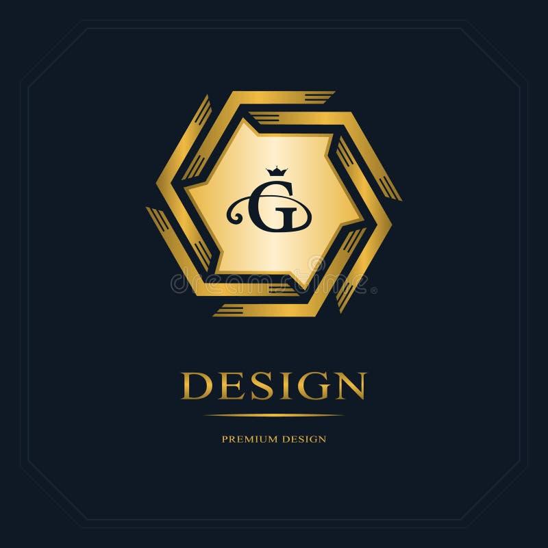 Logotipo geométrico do monograma Molde abstrato na mono linha estilo na moda Emblema G da letra do ouro Moderno monocromático do  ilustração royalty free