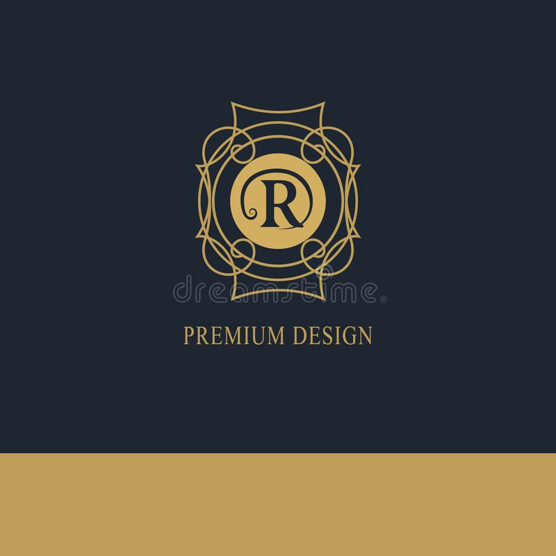 Logotipo geométrico do monograma Molde abstrato do vetor na mono linha estilo na moda Emblema R da letra Moderno do vintage Elem  ilustração stock