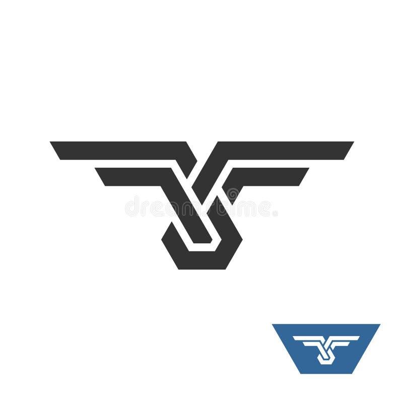 Logotipo geométrico do nó com asas ilustração royalty free