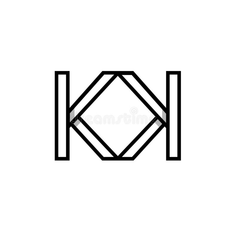 Logotipo geométrico moderno criativo do monograma das iniciais da forma KK ilustração royalty free