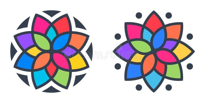 Logotipo geométrico simple de la mandala Logotipo circular para el boutique, floristería, negocio, interior stock de ilustración