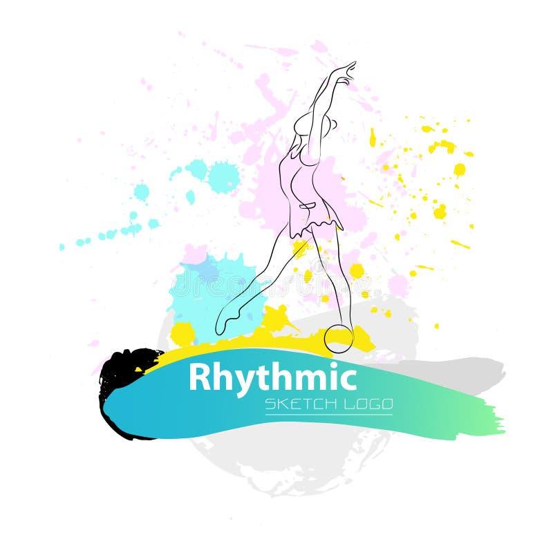Logotipo gimnástico rítmico artístico del bosquejo del vector imagenes de archivo