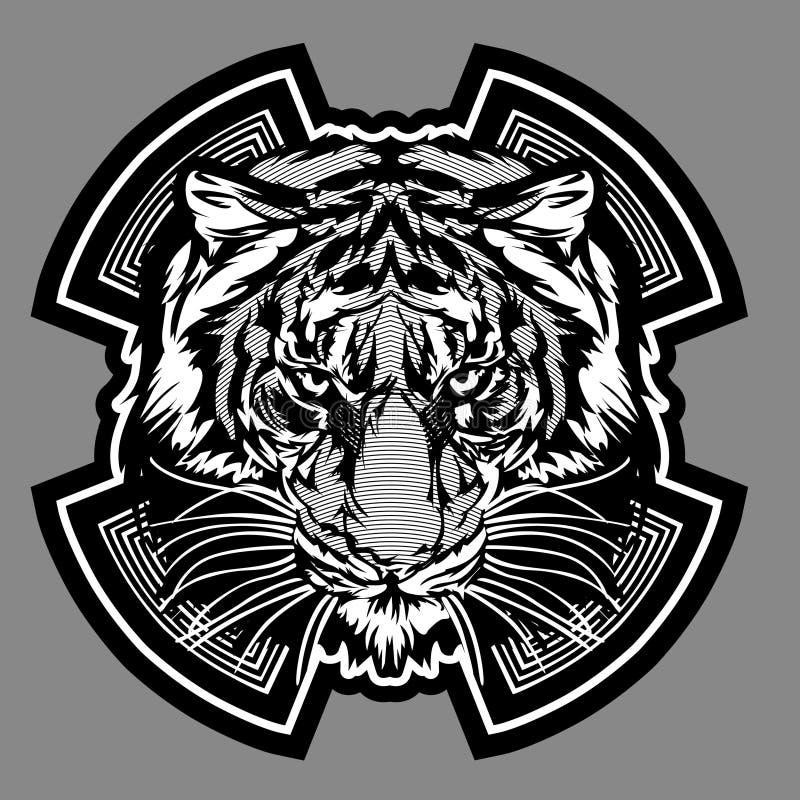 Logotipo gráfico do vetor da mascote do tigre ilustração do vetor