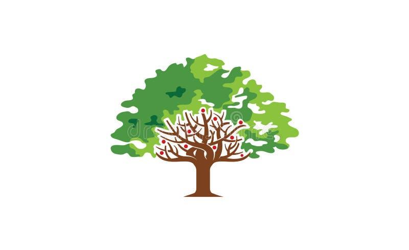 Logotipo grande verde criativo da natureza da árvore ilustração royalty free