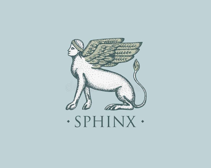 Logotipo Grecia antigua de la esfinge, vintage antiguo del símbolo, mano grabada dibujada en bosquejo o estilo del corte de mader libre illustration