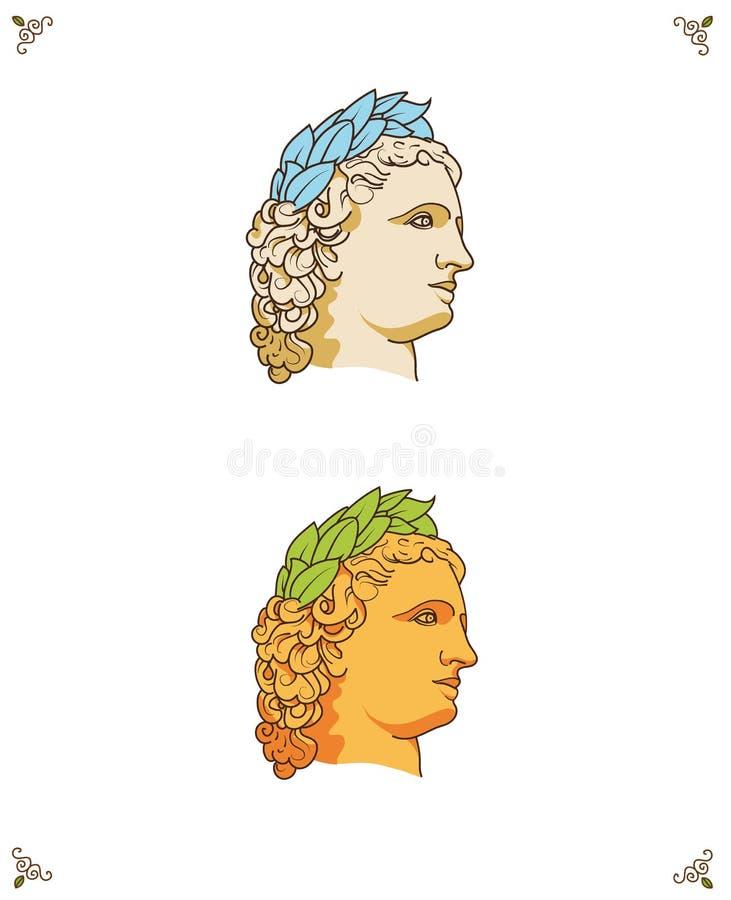 Logotipo griego de la cabeza del hombre del vector ilustración del vector