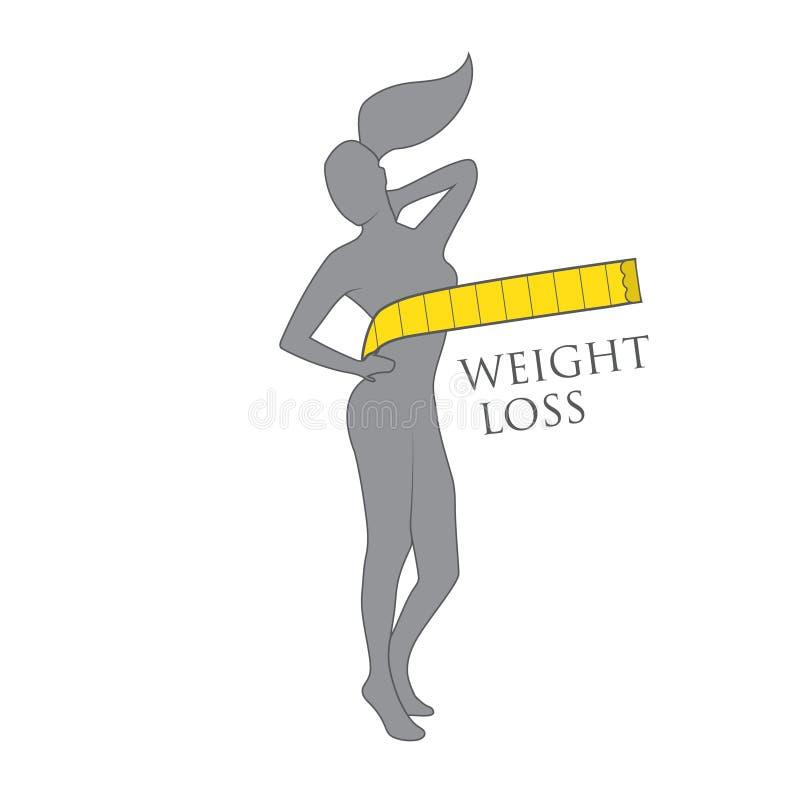 Logotipo gris de la pérdida de peso de la mujer del color de la silueta ilustración del vector