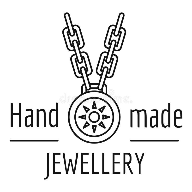 Logotipo hecho a mano de la joyería, estilo del esquema ilustración del vector