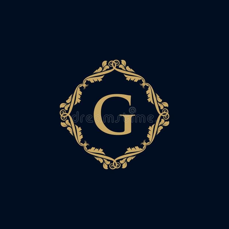 Logotipo heráldico do logotipo decorativo luxuoso do restaurante do logotipo da crista do hotel do logotipo ilustração stock