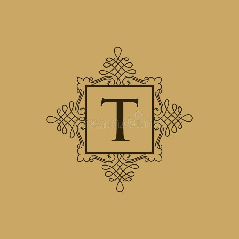 Logotipo heráldico do logotipo decorativo luxuoso do restaurante do logotipo da crista do hotel do logotipo ilustração do vetor