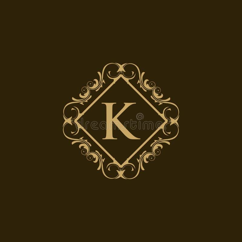 Logotipo heráldico do logotipo decorativo luxuoso do restaurante do logotipo da crista do hotel do logotipo ilustração royalty free