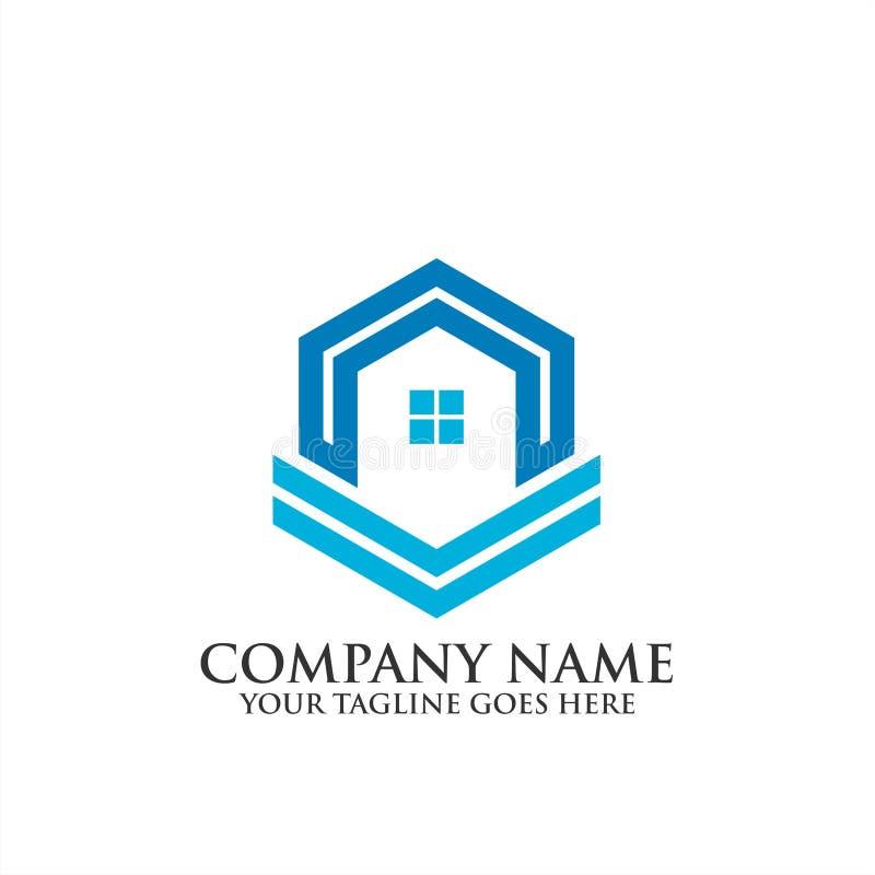Logotipo home criativo de Real Estate, ícone do vetor do molde do logotipo da regência, logotipo dos bens imobiliários imagens de stock
