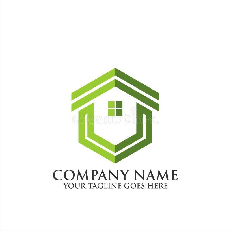 Logotipo home criativo de Real Estate, ícone do vetor do molde do logotipo da regência, logotipo dos bens imobiliários foto de stock