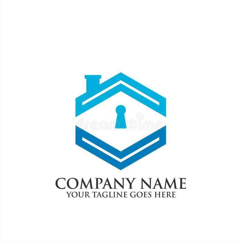 Logotipo home criativo de Real Estate da segurança, ícone do vetor do molde do logotipo da regência, logotipo dos bens imobiliári ilustração stock
