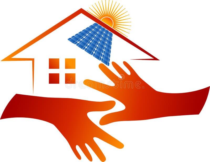 Logotipo home do painel solar ilustração do vetor