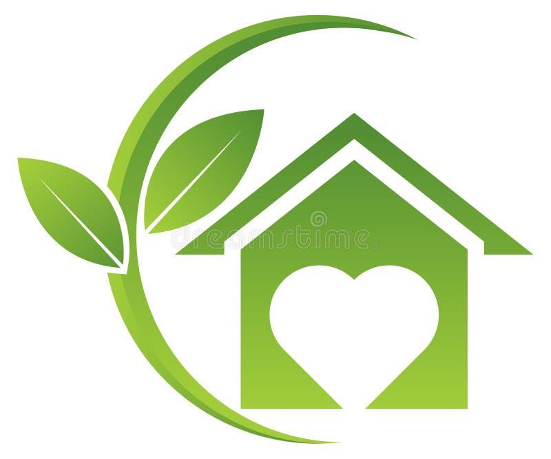 Logotipo home verde com folhas ilustração do vetor