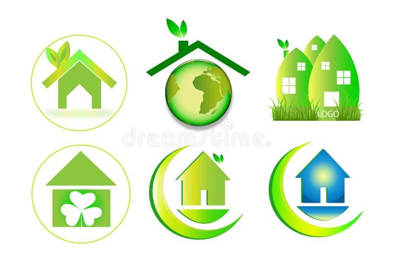 Logotipo home verde da casa ilustração do vetor