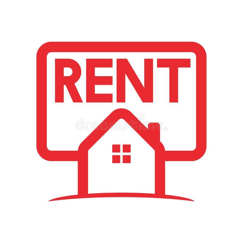 Logotipo home vermelho do aluguel ilustração do vetor