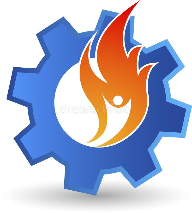Logotipo humano da engrenagem da chama ilustração royalty free