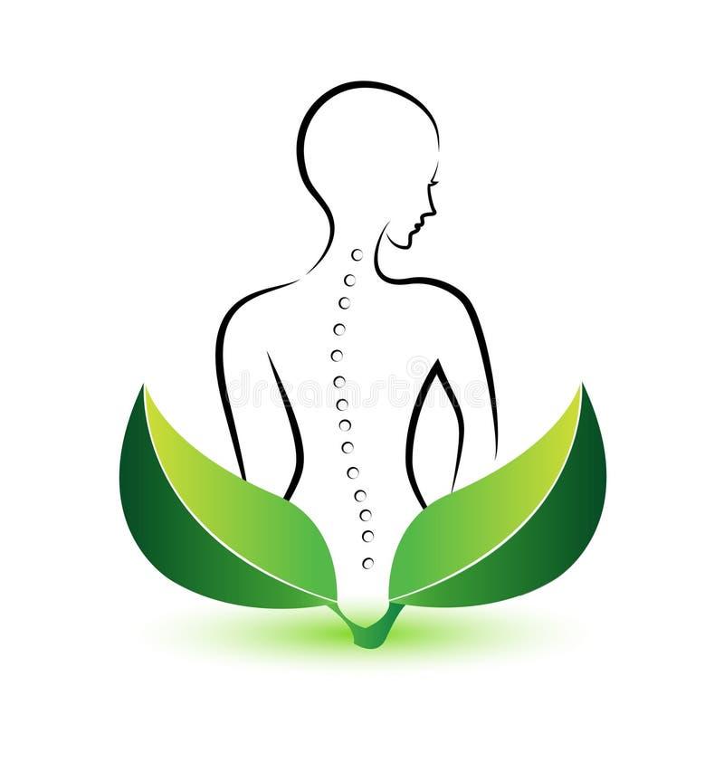 Logotipo humano de la espina dorsal stock de ilustración