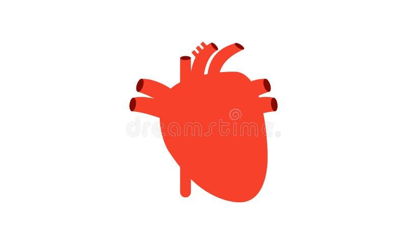 Logotipo humano del órgano interno del corazón ilustración del vector