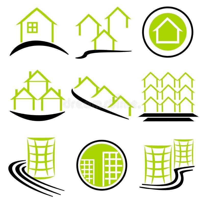 Logotipo/iconos de las propiedades inmobiliarias stock de ilustración