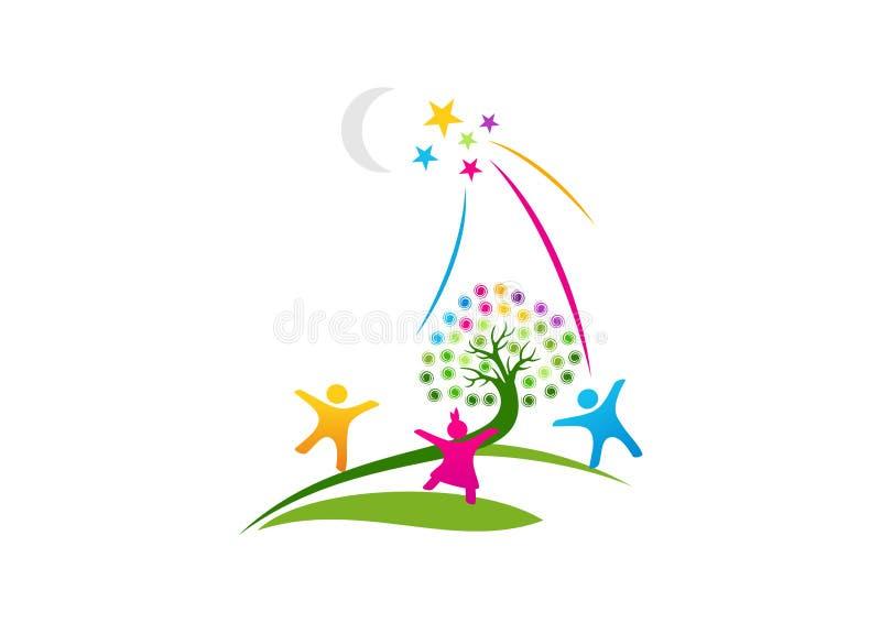 Logotipo ideal, un símbolo de la vida de la imaginación, esperanzas el éxito de los conceptos de diseño futuros stock de ilustración