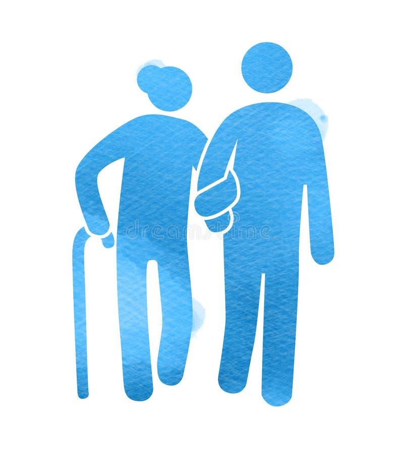 Logotipo idoso dos cuidados m?dicos Silhueta do sinal do lar de idosos no fundo da aquarela Pintura da arte de Digitas ilustração royalty free