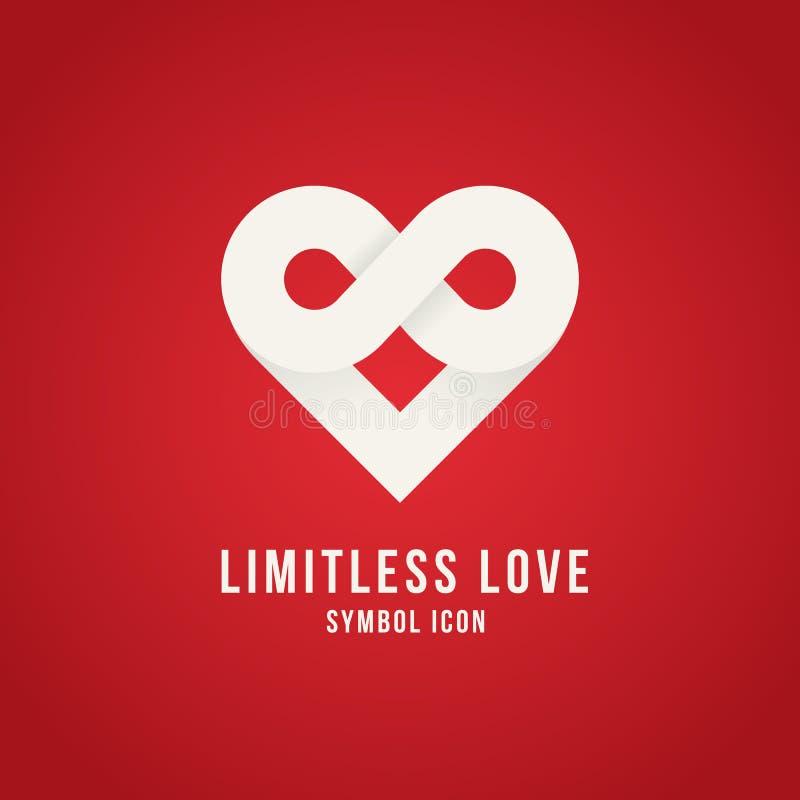 Logotipo ilimitado del icono del símbolo del concepto del vector del amor ilustración del vector