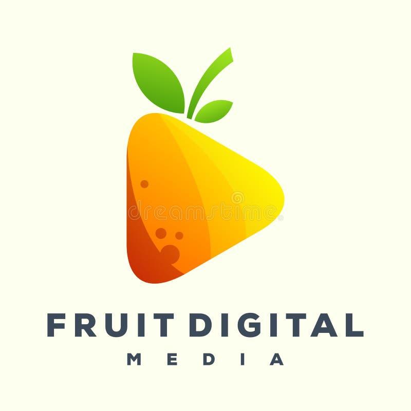 Logotipo impresionante de los medios de la fruta del juego ilustración del vector