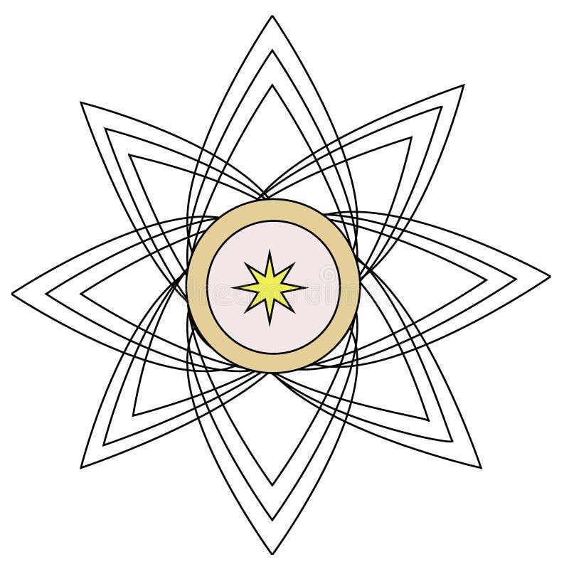 Logotipo incolor da flor para o negócio da maquinaria ilustração royalty free